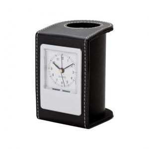 Leatherette Desk Clock and Pen Holder